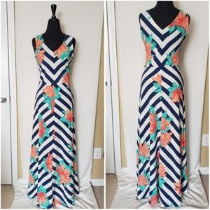 Navy and White Striped Floral Maxi